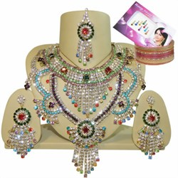 Bild von Set Bollywood Preity strass colorati + Bindi + Bangle