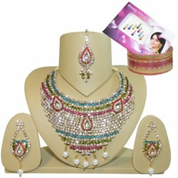 Bild von Set Bollywood Rani strass colorati + Bindi + Bangle