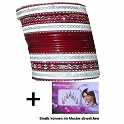 Bild von 24 Bracciali Bangles Sunflower Bollywood 7 cm bordeaux argento + Bindi