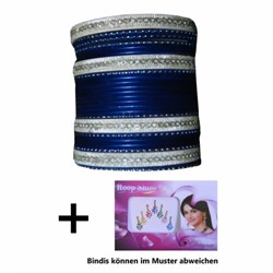Bild von 24 Bracciali Bangles Lovely stile Bollywood blu scuro/oro