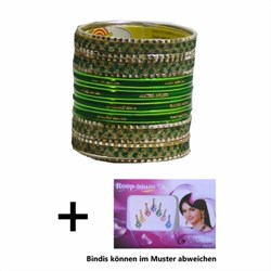 Bild von 24 Bracciali Bangles Lovely stile Bollywood verde scuro/oro + Bindi