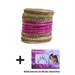 Bild von 24 Bracciali Bangles Lovely stile Bollywood rosa/oro + Bindi