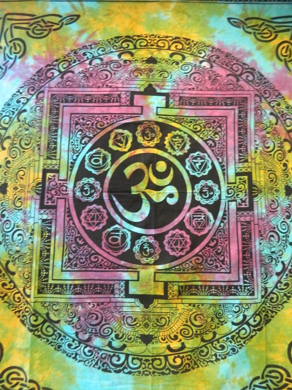 Tagesdecke Om Mandala Aquarell Bunt Baumwolle Indische Decke
